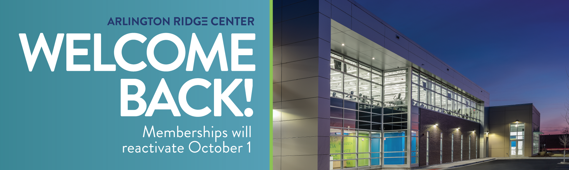 Welcome Back Memberships Reactivate October 1