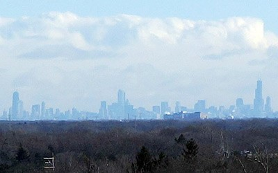 Chicago skyline from Nickol Knoll Sled Hill